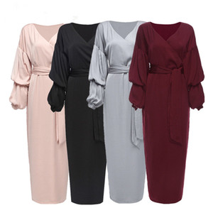 Mulheres V manga pescoço sopro Abaya hijab muçulmano Maxi vestidos casuais senhoras Kaftan fêmea vestido longo Malásia robe islâmica roupa étnica