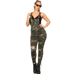 European and American Tooling Wind Camouflage Strap Jeans Trend Wild High-waist Stretch Ladies Overalls Super Personality Jeans