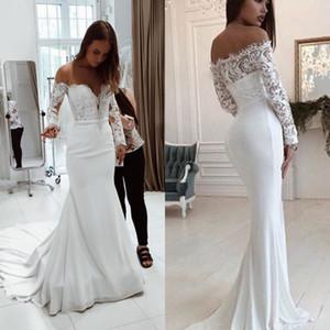 Outlet White Mermaid Brautkleider Sheer Halsausschnitt Langarm Boho Brautkleid mit Schleppe Plus Size 2019 Uk Hochzeitsempfang Kleid