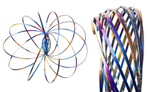 Rainbow Spring Metal Flow toys Magic Flow Ring Kinetic Fun Kids juguetes interactivos de regalo K0348