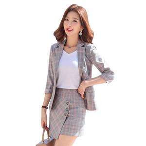 İlkbahar ve yaz mizaç iş kadın ekose etek takım elbise moda rahat yedi noktalı kol küçük takım elbise İki parçalı seti