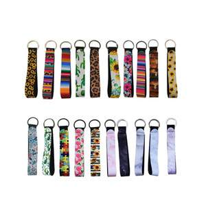 Wristband Keychains Neoprene Charms Short Lanyard Strap Band with Split Ring Key Chain Holder Cool Key Fob Sunflower Leopard Cactus DW5231