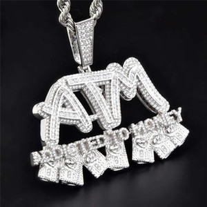 Iced Out completa Zircon ATM Addicted to Money colar de ouro pingente de prata banhado Mens Hip Hop Jewelry presente