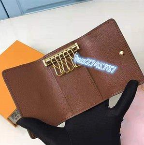 arrivée de nouveaux hommes classiques femmes porte-clefs avec 6 porte-clés porte-clés fait de la qualité véritable haute en cuir avec boîte