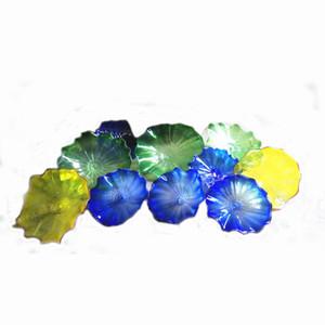 100% soplado a mano de Murano colgante de cristal Placas de pared del arte del estilo de Dale Chihuly vidrio borosilicato Arte soplado a mano Placas arte de la pared de cristal azul de la flor