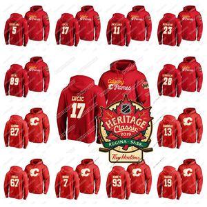 2019 Heritage clássico Calgary Flames Hoodie Milan Lucic Matthew Tkachuk Sean Monahan Sam Bennett Johnny Gaudreau Mikael Backlund Jersey