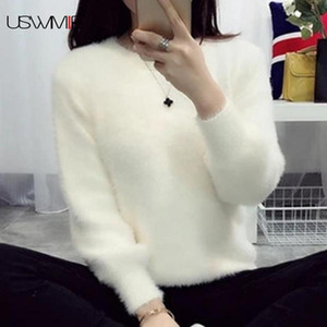 2019 Sweater Mulheres Moda Simples Casual lanterna luva cor sólida solto Comfort Cashmere Knitting Mohair Fur pulôver USWMIE T200102