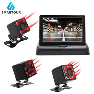 Smartour Car HD Video Auto Parking Monitor, ИК-камера ночного видения CCD Car Rear View Camera с 4,3-дюймовым монитором зеркала заднего вида