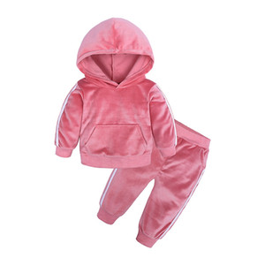 Autumn Winter Kids Clothing Set Velvet Hooded Sweatshirt Sports Cute Baby Clothing Sets Wing Ear Designer Clothes HHA724