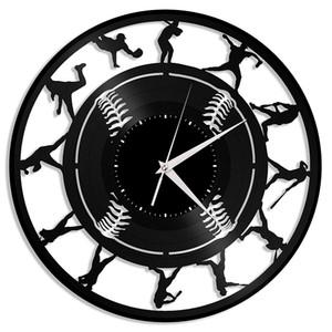 Beyzbol vinil duvar saati | Spor severler için benzersiz bir hediye | Ev odası dekorasyonu