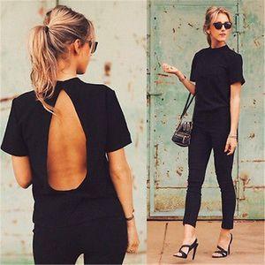 Lady Mulheres Moda Vestuário Camisetas Verão solto Top manga curta Backless Black Ladies Casual Tops T-shirt