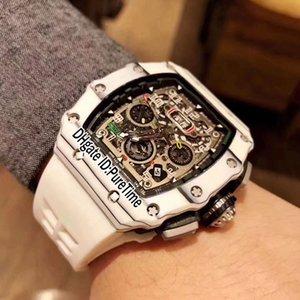 Nuovo V2 RM11-03 Miyota Automatic Watch Mens bianco in fibra di carbonio PVD Acciaio scheletro Dial Big Data bianco cinturino in gomma Orologi Puretime R03e5