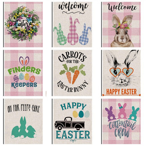 2020 Счастливый Easter Bunny сад Флаг двойной стороне печати Симпатичный кролик Пасхальное яйцо фестиваль во дворе висячие Баннер Флаги льняные 47 * 32см D11501