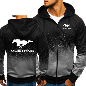 Hoodies Männer Mustang Car Gelegenheits HipHop Harajuku Gradient Farbe mit Kapuze Vlies-Sweatshirts Drucken Reißverschlussjacke Man Kleidung