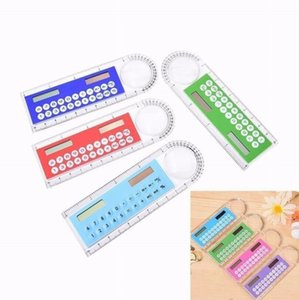 Multi Purpose Colorful Student Ruler Mini Portable Solar Energy Calculator Office Stationery Calculator Promotional gift