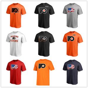 필라델피아 플라이 어스 남성 T 셔츠 블랙 화이트 오렌지 팬 티 패션 T 셔츠 하키 저지 코튼 짧은 소매 인쇄 넥 탑