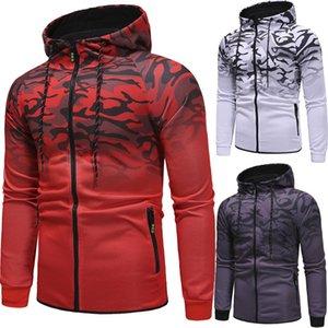 남성용 봄 / 가을 코트 3D Gradient Hoodie 캐주얼 스포츠 성격 프린트 Jacket Mens Fashion Apparel