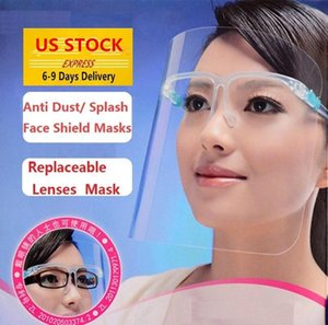 США STOCK, Clear Защитная Защитная маска Пластиковый экран Полная защита лица Маска Изоляция противотуманным масло Защитная маска Щит Hat