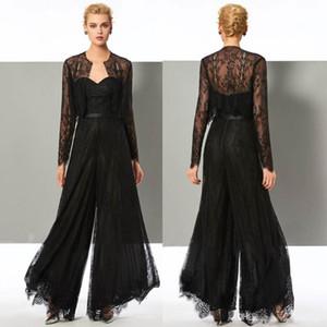 Elegante schwarze Spitze Overall Mutter der Braut Hose Anzüge Schatzausschnitt Hochzeitsgast Kleid mit Jacken Plus Size Mütter Bräutigam Kleider