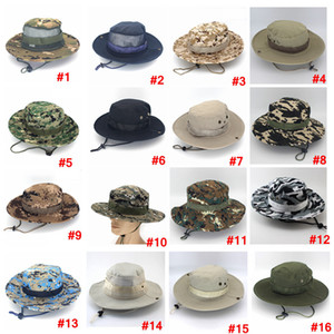 Balde Exército dobrável Hat esporte ao ar livre malha camuflagem boné militar selva Adultos Homens Mulheres vaqueiro Boonie Hats Para Pesca LJJA3704-6