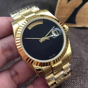 Wholesale - Mens automatic watch 36MM DAY DATE glide smooth Black face Mechanics men&039;s watches Sapphire original 18K Gold Stainless stee