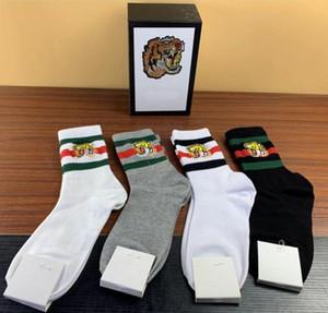 Top-Qualität 4 Farben vier Paare im Kasten niedrigen Tigerkopf ace Stickereientwerfer Socke Antibakteriell Cotton Unisex Luxusschuhe Sport Sox