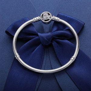 CZ elmas yılan kemik zincir mizaç bayanlar ile Pandora 925 gümüş için Mizaç romantik şiir çiçek bilezik bilezik