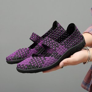 Fashion2019 35-42 Calzado elástico Manual tejido individual Will Zapato de mamá de fondo plano