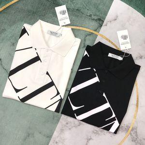 Yeni varış VLT lüks tasarım Harf Logolar Baskı yaka kısa kollu tişört Erkekler Kadın moda rahat Tişört boyut M-2XL gevşek sportif