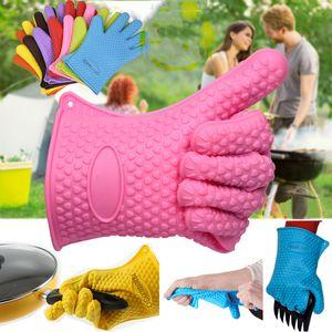 Силиконовые печь перчатки микроволновая печь перчатки высокотемпературные жаростойкие перчатки нескользящие рукавицы Барбекю гриль перчатки кухня выпечки инструмент ДБН VT0528