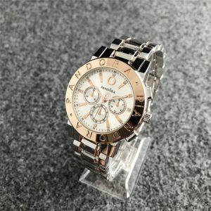 Горячие новые моды люксовый бренд Pandora мужские и женские часы из нержавеющей стали роскошные спортивные часы высокого качества роскоши мужской и женской л