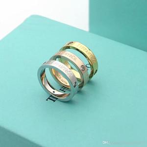 고급 디자이너 보석 여성 T 문자 커플 다이아몬드 반지 티타늄 스틸 실버 남성 금 18K 골드 약혼 반지 장미 반지