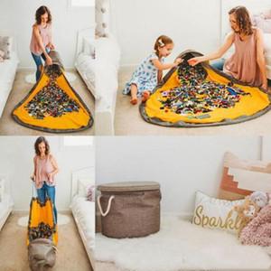Sac Toy stockage enfants Jouets Organisateur Drawstring Bin Boîte ronde Tapis de jeu Tapis Couverture SlideAway Toy de nettoyage et de stockage de conteneurs LXL925AQ