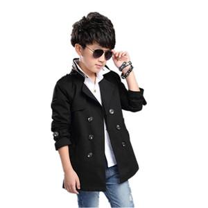 2019 Recién Llegado Pydownlake Baby Boys Trench Coat 5T-16T Los niños de doble botonadura de manga larga Outwear Kids Chaquetas Abrigo de moda