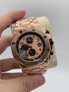 7 Style Top orologi da polso 42mm offshore 26470 26470OR.OO.1000OR.01 oro rosa VK Cronografo Portachiavi Orologi Mens