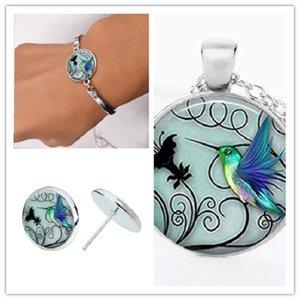 30 Hummingbird Время Gemstone ожерелье Set Hummingbird серег Gemstone Hummingbird браслет маленький птица Пчелиный мир голубь набор ювелирных изделий