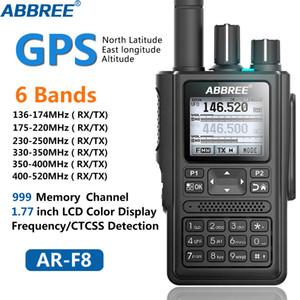 ABBREE AR-F8 GPS 6 полос (136-520MHz) 8W 999CH Многофункциональный ABBREE AR-F8 LCD Цвет Любительское Ham Two Way Радио Walkie Talkie