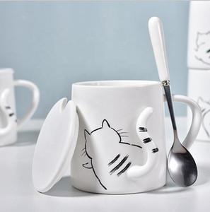 Cat stampa della tazza creativa di nuovo arrivo ceramica 3D Coffee Mug Set marchio su misura Viaggi tazza portatile acqua con il cucchiaio