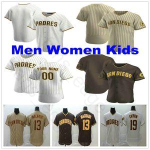 2020 New Custom Uomini Donne Bambini Giovani # 13 Manny Machado # 19 Tony Gwynn 4 Wil Myers 23 Fernando Tatis Jr. Cucita Maglie Da Baseball
