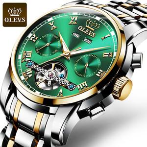 orologio meccanico in acciaio inossidabile di lusso degli uomini di modo OLEVS grande volano fantasma verde acqua quadrante impermeabile orologio da uomo