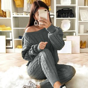 Litthing Autumn Women Knitted 2 Pcs Sweater Set Ladies Warm Jumper Sets O Neck Knitted Pullovers and Long Pants Casual Set 2020 T200702