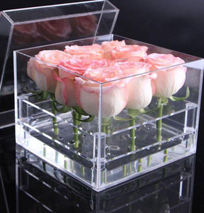 Acrylic Rose Flower Box Multi Function Organizer Holder Makeup Case Cosmetic Tools Holder Valentine's Gift KKA7894