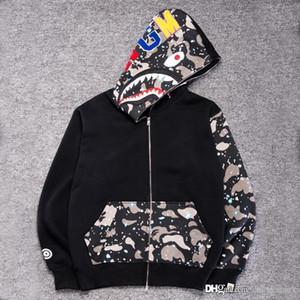 Shark Bocca Uomo Nero Stampa con cappuccio giacca mimetica nero in pile magliette felpate Autunno Inverno uomo Camo Hoodie
