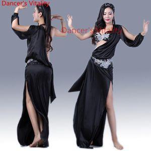 Новый Танец живота Одежда Sexy Spandex танец живота Комплект бюстгальтер + платье + головной убор + Hip шарф Женщины Костюм для девочек Одежда