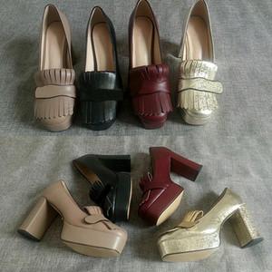 """Последние кожа платформы насос с бахромой женщин на высоких каблуках Урожай Marmont обувь Двойной Toe аппаратных 3,3"""" 4,5"""" с платформой"""