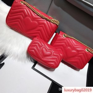 2019 Women Marmont bag Luxury Handbags Designer Handbags Soft Genuine Leather Shoulder Bags Ladies Heart V Wave Pattern Crossbody Bags