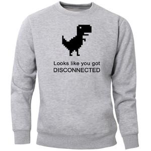 Похоже, вы G Disconnected Динозавр толстовки Толстовки Мужчина Смешного Crewneck фуфайка Перемычка Черное руно Теплого Спортивное