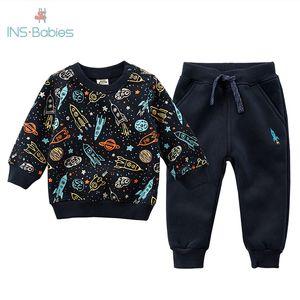 3-6y Children Winter Sportswear Kids Casual Clothing Set Boys Apring Autumn Tracksuit Children Clothing Coat + Pant Suit Outfits T200707