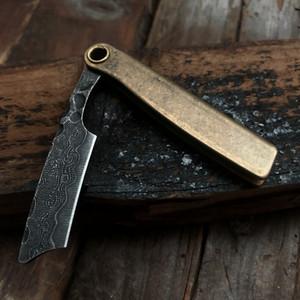 Высокое качество Дамасское лезвие латунная ручка старинные бритья прямые волосы формирователь Каппер бритва классический ручной парикмахер бритвы комплект складной нож Ша