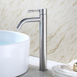 Stainless Steel Bathroom Basin Tap Single Cold Water Tap Wash Basin Faucet Deck Mounted Quickly Open Type Sink Tap Single Handle